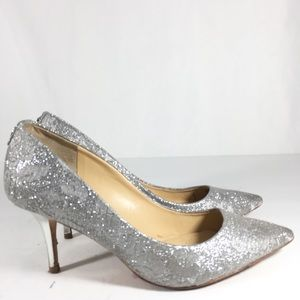Ivanka Trump Glitter Leather Heel Pointed Toe Pump